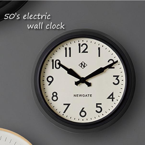 \キャッシュレス5%還元/ 【送料無料】NEW GATE 50's electric wall clock 時計 壁掛け アンティーク おしゃれ 雑貨 インテリア インダストリアル ブラック 黒 贈り物 TR-4313