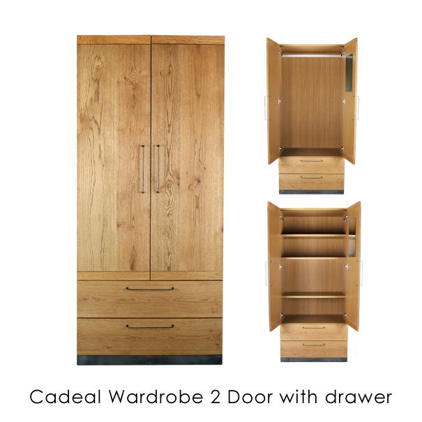 【ポイント最大33倍!16日1:59まで】【送料無料】a depeche cadeal wardrobe 2 door with drawer ワードローブ 収納家具 アイアン 無垢 オーク 鉄 木製 ウッド 完成品 木 CDL-WDB-2WR-WBT,CDL-WDB-2WR-HGT