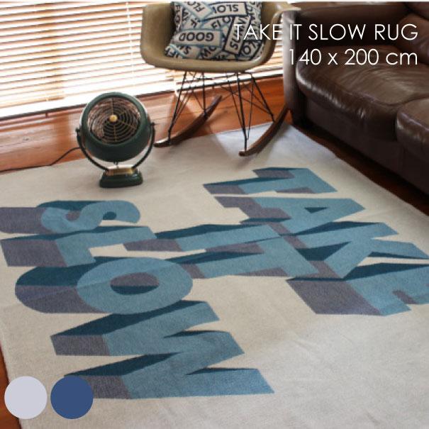 【ポイント最大27倍!7日9:59まで】【送料無料】メルクロス TAKE IT SLOW RUG 140×200cm ラグ ラグマット 洗える テイクイットスロウラグ カーペット 絨毯 じゅうたん マット ホットカーペット 床暖房 敷物 ネイビー ホワイト ブルー 子供部屋用 柄 滑り止め付き