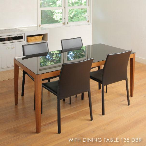 \ポイント最大10倍!26日1:59まで/WITH DINING TABLE 135 DBR ウィズダイニングテーブル ダークブラウン 4人用 アンティーク 小さい 小さめ 130 140 コンパクト 脚 おうちカフェ 家具 おしゃれ 可愛い 北欧 黒 ブラック ガラス 木製 GDT-7670