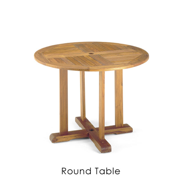 チークの素材を活かすオイルフィニッシュで仕上げたシンプルな屋外用ラウンドテーブル ナチュラルテイストにお勧めです  \キャッシュレス5%還元/ 【送料無料】ラウンドテーブル チーク アウトドア エクステリア 屋外 丸 円 テーブル ガーデン ウッド 木 木製 レトロ シンプル