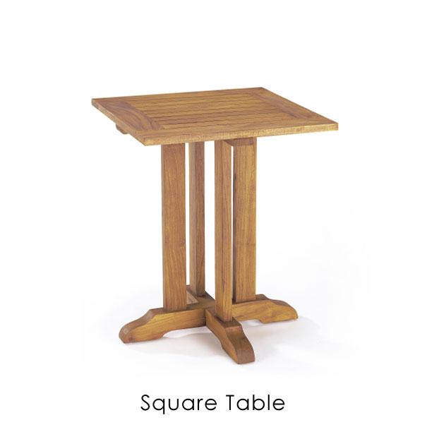 チークの素材を活かすオイルフィニッシュで仕上げたシンプルな屋外用スクエアテーブル ナチュラルテイストにお勧めです  \キャッシュレス5%還元/ 【送料無料】スクウェアテーブル チーク アウトドア エクステリア 屋外 ガーデン カフェ オシャレ ウッド 木 木製 レトロ