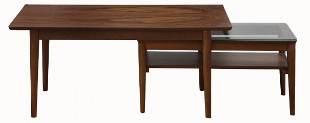 【ポイント最大32倍!9日 1:59まで】emo.Table EMT-2412BR エモ テーブル ネストテーブル 木製 ウォールナット ブラウン ガラス シンプル センターテーブル リビングテーブル
