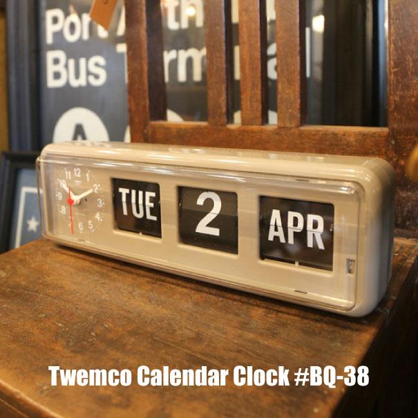 """【ポイント最大27倍!7日9:59まで】時計 【送料無料】Twemco Calendar Clock #BQ-38 """"Gray""""トゥエンコカレンダークロック デザイン 掛け時計 掛時計 置き時計 クロック アメリカ フリップ パタパタ 壁掛け グレー おしゃれ アンティーク ギフト プレゼント"""