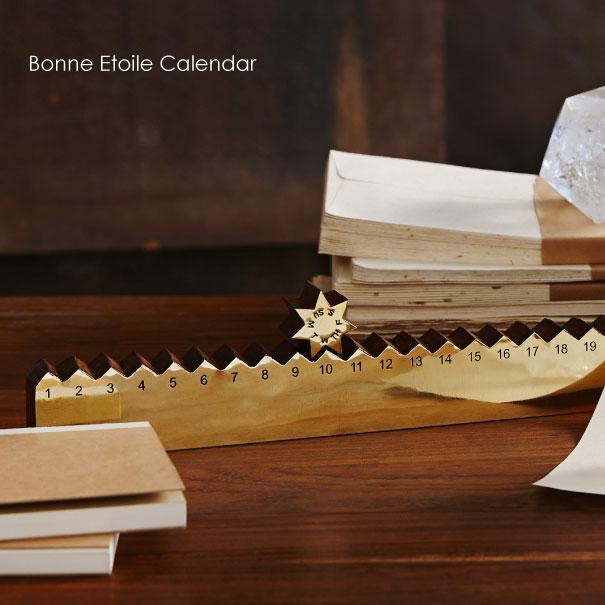 【ポイント最大27倍!7日9:59まで】\キャッシュレス5%還元/ 【送料無料】Bonne Etoile Calendar ウッド 真鍮 万年カレンダー 卓上 木製 星 スター