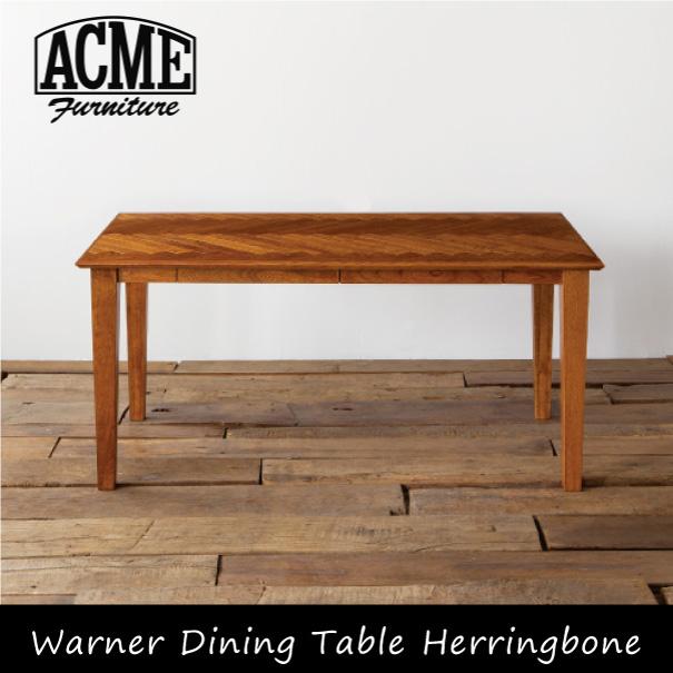 ACME Furnitureの引出収納付きの重厚な雰囲気のダイニングテーブル 天板に施された無垢材をスライスして作ったヘリンボーンが印象的です \キャッシュレス5%還元/ ACME FURNITURE WARNER DINING TABLE HERRINGBONE ダイニングテーブル 食卓 オーク ヘリンボーン 抽斗 引き出し 収納 無垢 ウッド 木製 おしゃれ インダストリアル アンティーク ヴィンテージ カリフォルニア