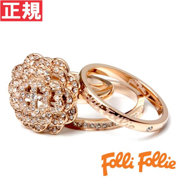【期間限定50%OFF 半額】フォリフォリ Folli Follie リング 54号(日本サイズ約14号) Winter Dream SANTORINI FLOWER RING 3R15T024RC54