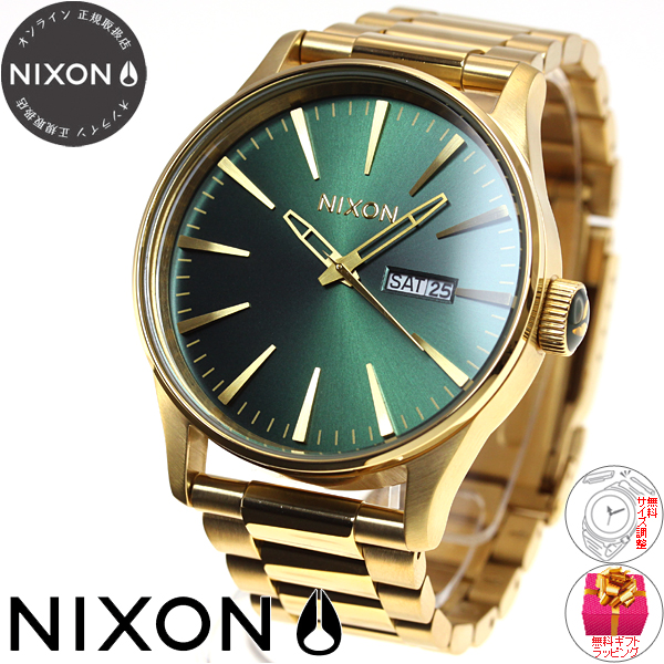 c339d80ec88 Nixon NIXON sentry SENTRY SS SS watch Mens Gold   Green Sunray NA3561919-00