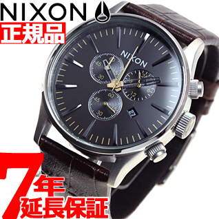10%OFFクーポン!31日23:59まで! ニクソン NIXON セントリークロノレザー SENTRY CHRONO LEATHER 腕時計 メンズ クロノグラフ ブラウンゲーター NA4051887-00