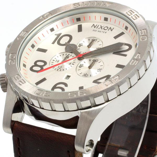 Nixon NIXON 51-30 Chrono leather】all 51-30 CHRONO LEATHER watch men's chronograph silver / Brown NA1241113-00