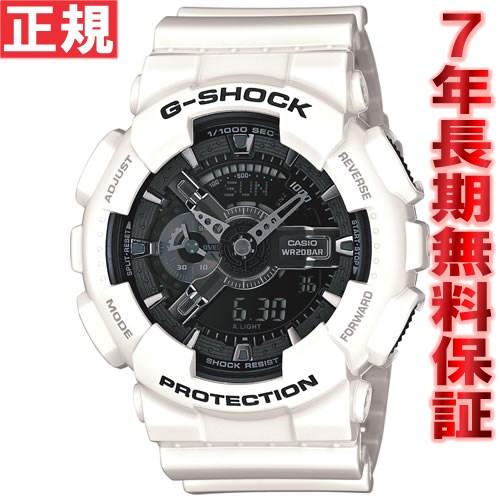 G-SHOCK ホワイト&ブラック 白 腕時計 メンズ アナデジ GA-110GW-7AJF