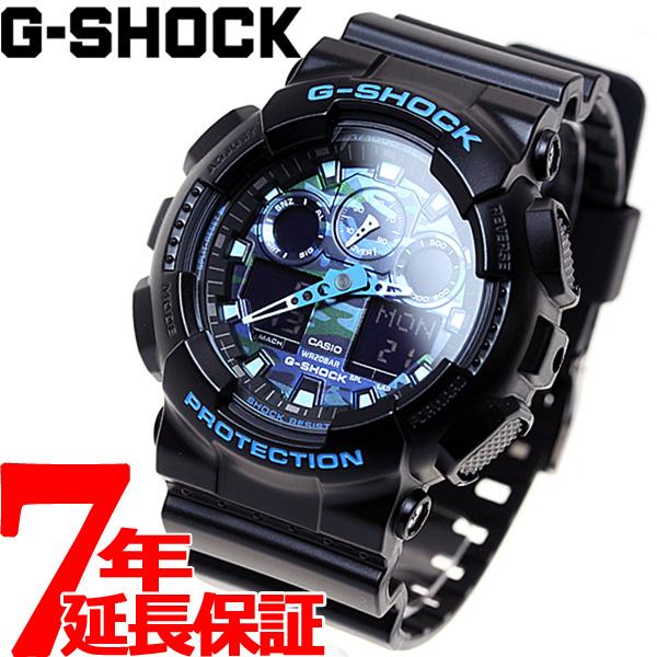 ニールならポイント最大33倍!30日23時59分まで!G-SHOCK ブラック×ブルー カモフラージュ アナデジ 腕時計 メンズ GA-100CB-1AJF
