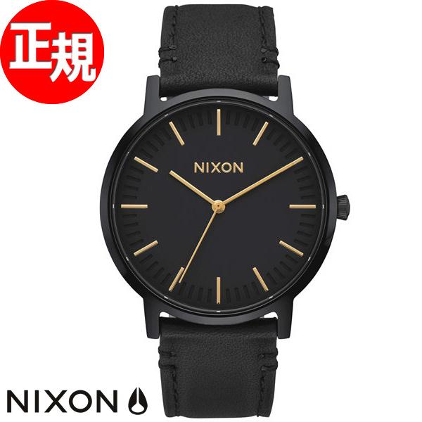 【SHOP OF THE YEAR 2018 受賞】ニクソン NIXON ポーターレザー PORTER LEATHER 腕時計 メンズ オールブラック/ゴールド NA10581031-00