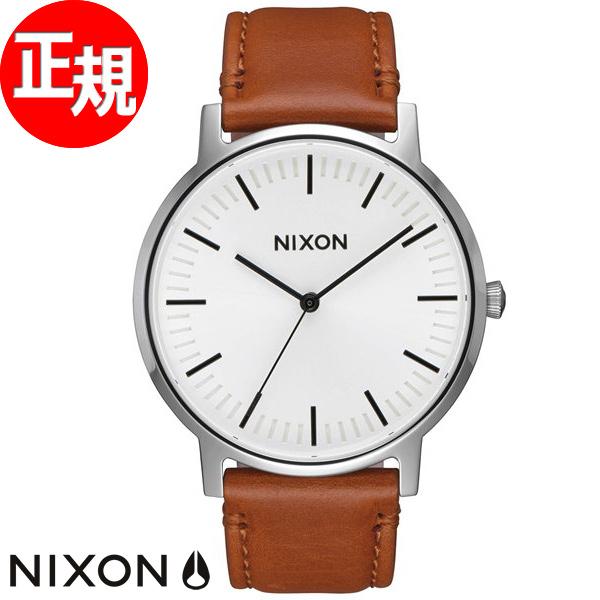10%OFFクーポン!31日23:59まで! ニクソン NIXON ポーターレザー PORTER LEATHER 腕時計 メンズ ホワイトサンレイ/サドル NA10582442-00