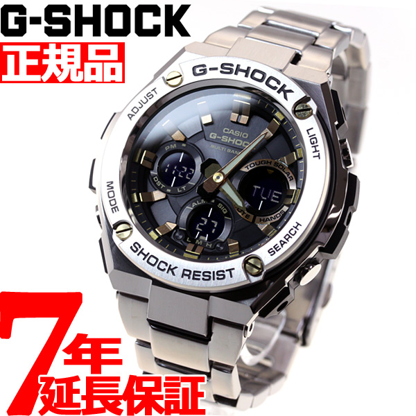 G-SHOCK 電波 ソーラー 電波時計 ブラック×ゴールド G-STEEL カシオ Gショック Gスチール CASIO 腕時計 アナデジ タフソーラー GST-W110D-1A9JF