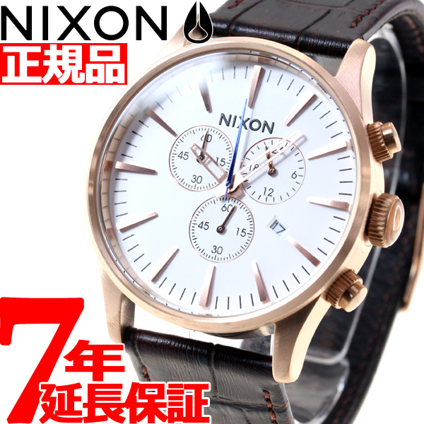ニクソン NIXON セントリークロノレザー SENTRY CHRONO LEATHER 腕時計 メンズ クロノグラフ ローズゴールド/ブラウンゲーター NA4052459-00