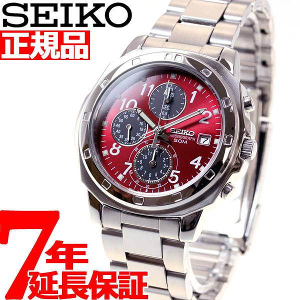 セイコー SEIKO 逆輸入 クロノ SEIKO 腕時計 メンズ クロノグラフ レッド SND495