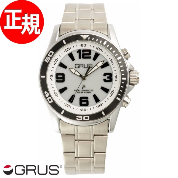 GRUS グルス 音声時計 ボイス電波 ソーラー トーキングウォッチ 腕時計 メンズ GRS004-01