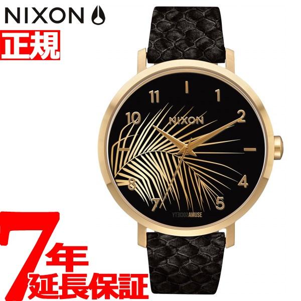 ニクソン NIXON アロー レザー ARROW LEATHER 腕時計 レディース ゴールド/ブラック/パーム NA10912892-00