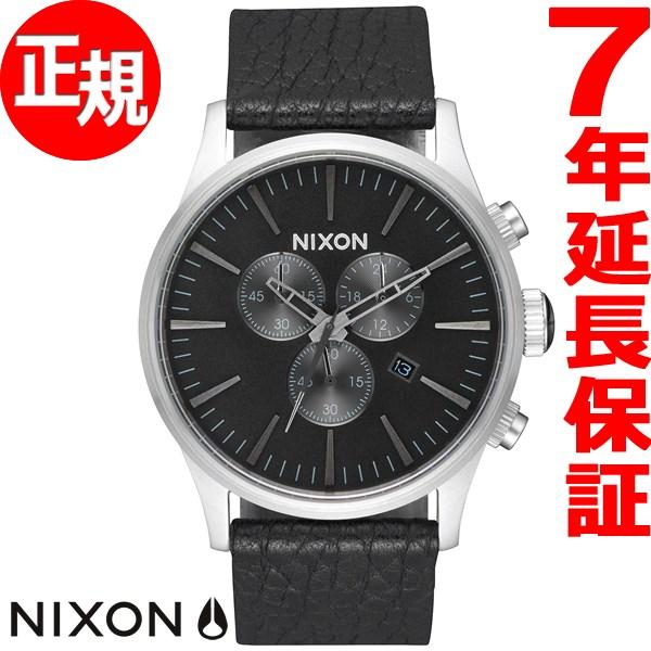 10%OFFクーポン!31日23:59まで! ニクソン NIXON セントリー クロノ レザー SENTRY CHRONO LEATHER 腕時計 メンズ クロノグラフ ブラック/ガンメタル/ブラック NA4052788-00