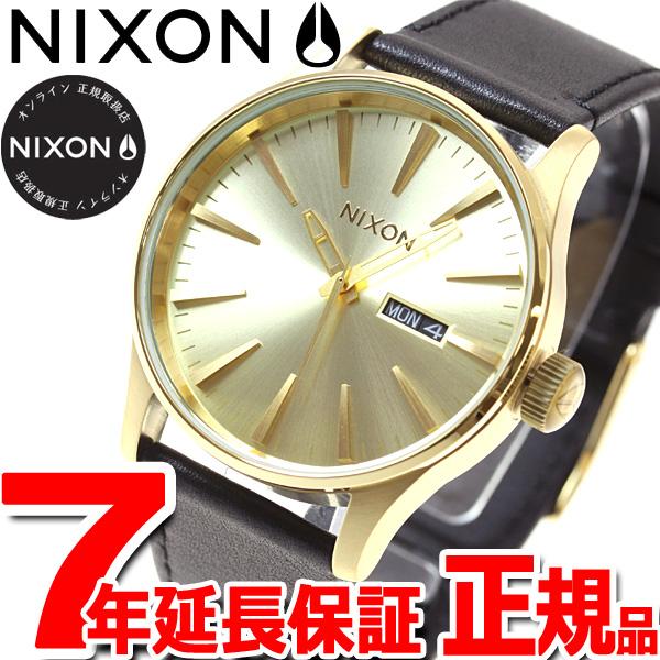 ニクソン NIXON セントリー レザー SENTRY LEATHER 腕時計 メンズ オールゴールド/ブラック NA105510-00