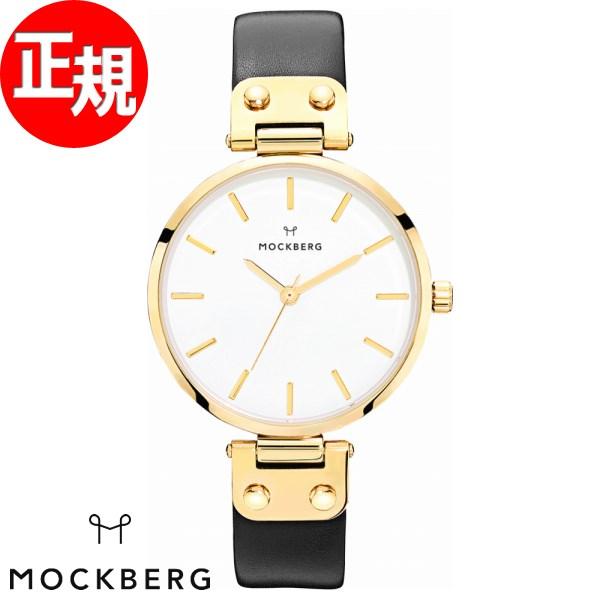 モックバーグ 時計 レディース MOCKBERG Saga 腕時計 34mm ホワイト ブラックレザー MO107