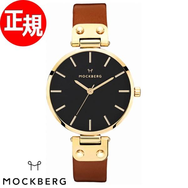 モックバーグ 時計 レディース MOCKBERG Ilse Black 腕時計 34mm ブラック ブラウンレザー MO114