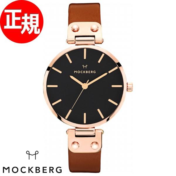 モックバーグ 時計 レディース MOCKBERG Vilde Black 腕時計 34mm ブラック ブラウンレザー MO115