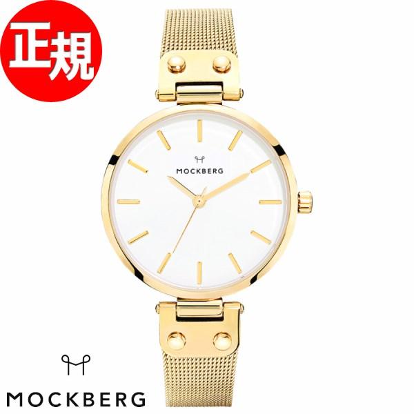 モックバーグ 時計 レディース MOCKBERG Livia 腕時計 34mm ホワイト ゴールドスチールメッシュ MO1601