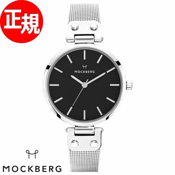 モックバーグ 時計 レディース MOCKBERG Elise Noir 腕時計 34mm ブラック シルバースチールメッシュ MO1604