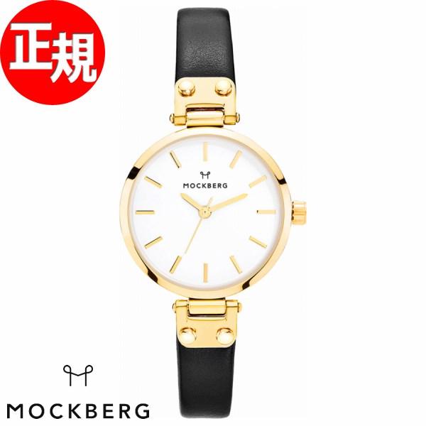 【お買い物マラソンは当店がお得♪本日20より!】モックバーグ 時計 レディース MOCKBERG Saga Petite 腕時計 28mm ホワイト ブラックレザー MO207