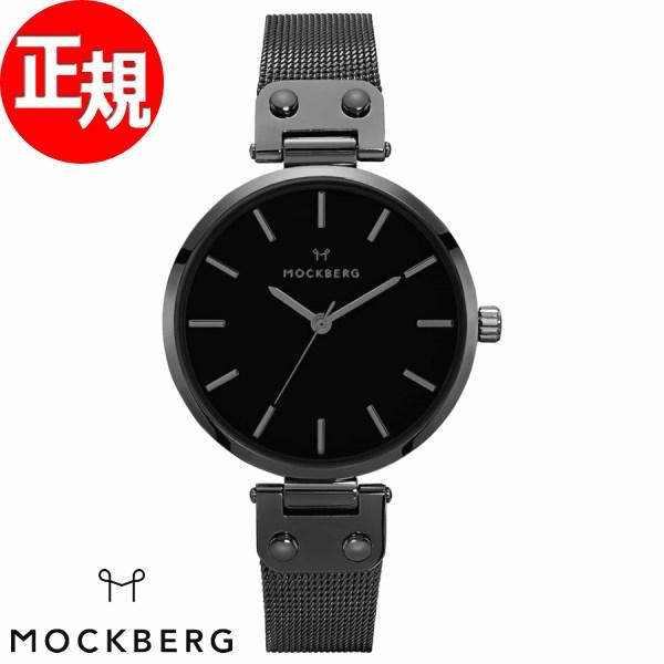 モックバーグ 時計 レディース MOCKBERG Lio 腕時計 34mm ブラック ブラックスチールメッシュ MO305