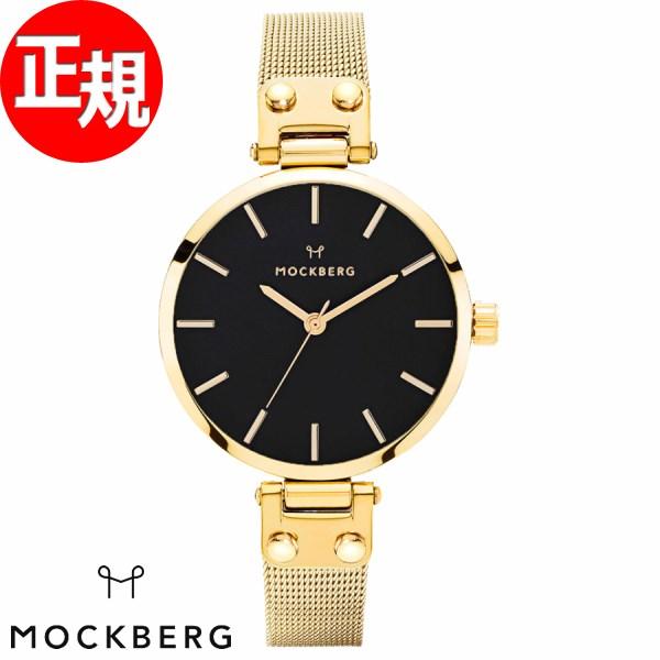 モックバーグ 時計 レディース MOCKBERG Livia Petite Noir 腕時計 28mm ブラック ゴールドスチールメッシュ MO403
