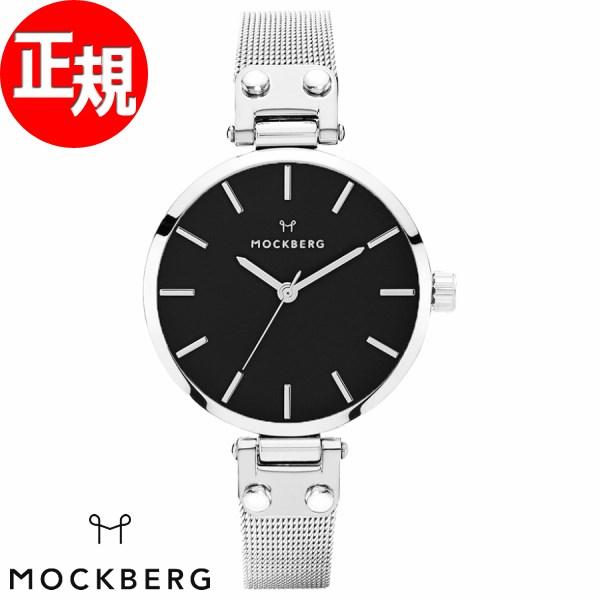 モックバーグ 時計 レディース MOCKBERG Elise Petite Noir 腕時計 28mm ブラック シルバースチールメッシュ MO404