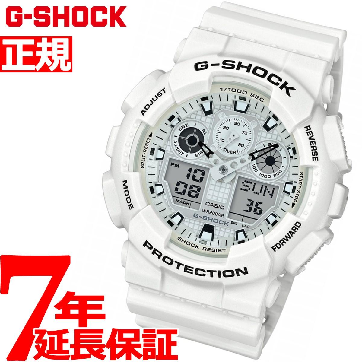 G-SHOCK アナデジ メンズ 腕時計 マリンホワイト 白 Marine White CASIO GA-100MW-7AJF【2018 新作】