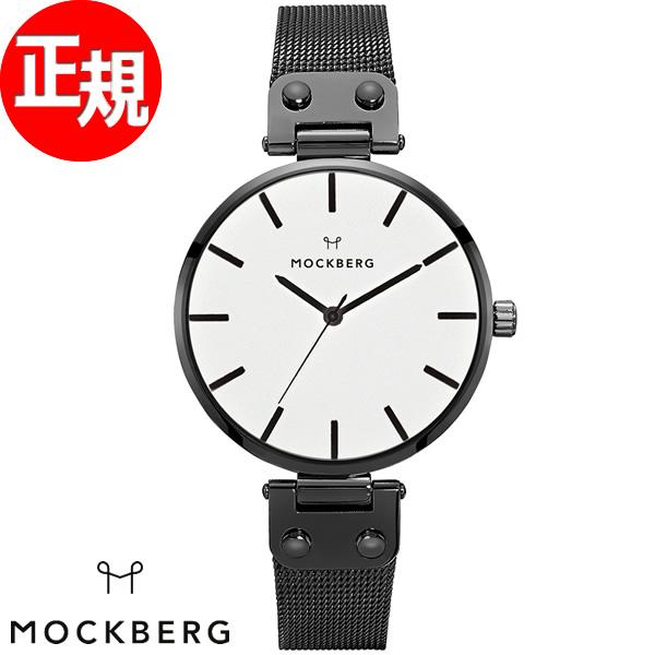 モックバーグ MOCKBERG 腕時計 レディース Ines 34mm ホワイト/ブラックメッシュ MO306【2018 新作】