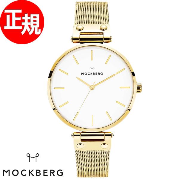 モックバーグ MOCKBERG 腕時計 レディース Livia 38mm ホワイト/ゴールドメッシュ MO501【2018 新作】