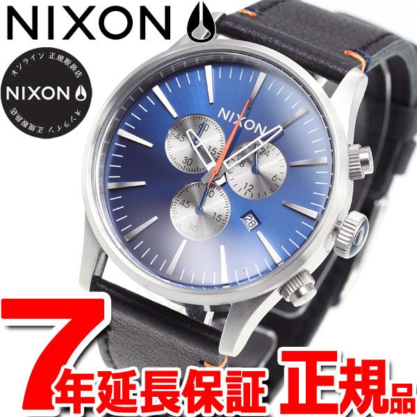 10%OFFクーポン!31日23:59まで! ニクソン NIXON セントリークロノレザー SENTRY CHRONO LEATHER 腕時計 メンズ クロノグラフ ブルーサンレイ NA4051258-00