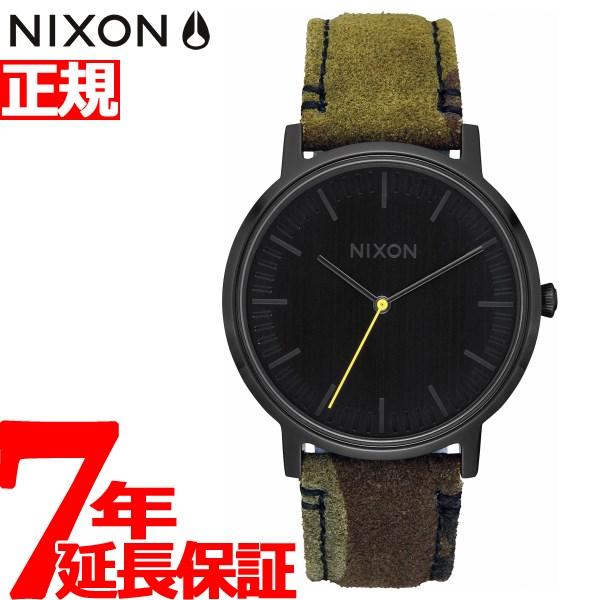 【SHOP OF THE YEAR 2018 受賞】ニクソン NIXON ポーター レザー PORTER LEATHER 腕時計 メンズ レディース BLACK / CAMO / VOLT NA10583054-00【2018 新作】