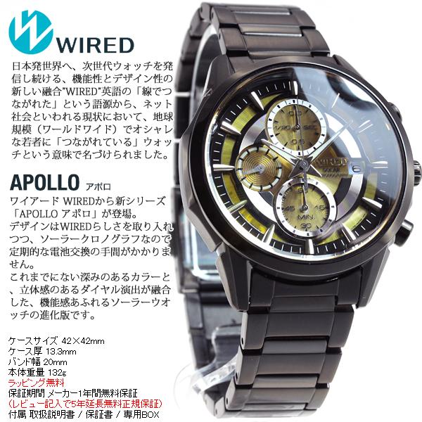 Seiko wired SEIKO WIRED Christmas limited edition model solar watch men's Apollo APOLLO chronograph AGAD724
