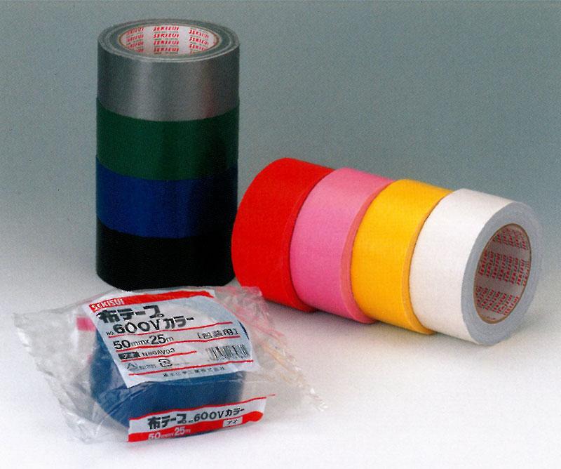 【積水化学工業】 セキスイ 布テープ No.600V カラー (赤・黄・黒・白・緑・青・銀・ピンク) 30巻入り (50mmx25m)