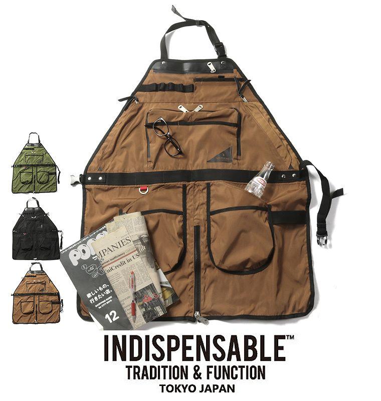 【エプロン】INDISPENSABLE インディスペンサブル ナイロン エンジニア ポケット エプロン APRON BAG SKINS メンズ 男性 レディース 女性 多機能 ギフト