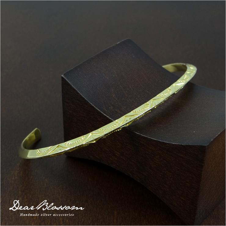 Dear Blossom(ディアブロッサム)K18トライアングルバングル/ナロー S/M/L 【18金 メンズ レディース ユニセックス 三角 バングル スタンプワーク インディアン ネイティブ ジュエリー アクセサリー 】DB-B-023-K18
