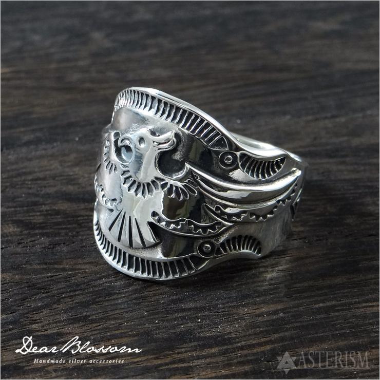 Dear Blossom(ディアブロッサム)「THUNDERBIRD RING(サンダーバード リング)」Silver 925 / 11~29号【銀 スターリングシルバー インディアン ネイティブ アクセサリー 指輪 イーグル 鷲 鷹 スタンプワーク シルバー 925】DB-R-082