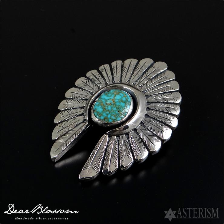 Dear Blossom(ディア ブロッサム)『Indian head Turquoise/インディアンヘッド+ターコイズ』(T-092)インディアンジュエリー メンズ シルバー ペンダント