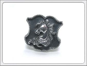 OWL'S(アウルズ)シルバー 925 「シールドリング ホース type1&type2 」SILVER 925 / 15号~ 【銀 メンズ レディース アクセサリー ジュエリー ハンドメイド 具象 盾 馬 指輪】シールドリング/馬
