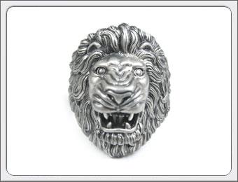 OWL'S(アウルズ)シルバー 925 「ライオンリング No.04」SILVER 925 16号~【銀 メンズ レディース アクセサリー ジュエリー レオ 獅子 ハンドメイド 具象 ハード 動物 指輪】LR-04