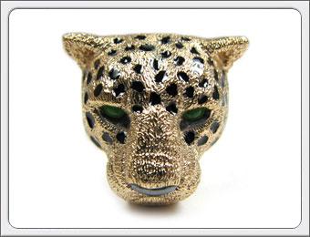 OWL'S(アウルズ)シルバー925×七宝 「イエローパンサー リング」SILVER 925、七宝、タイガーアイ / 16号~【銀 メンズ レディース アクセサリー ジュエリー ハンドメイド 具象 ハード ゴールド 豹 ヒョウ 動物 指輪】PAR-01 YM SHIPPO
