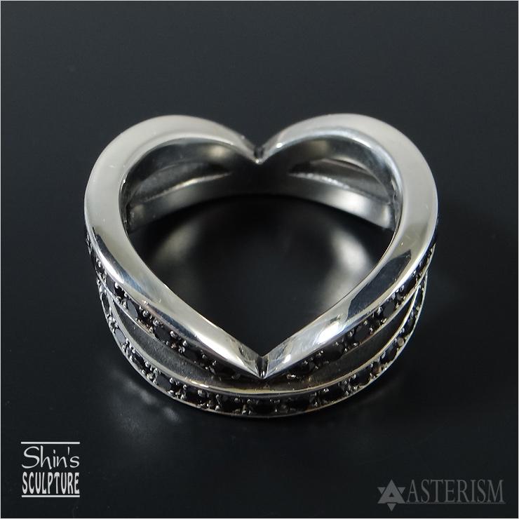 Shin's Sculpture(シンズ スカルプチャー)「Invisible Heart Full Eternity(インヴィジブルハート フルエタニティ リング」SILVER 925、ブラックキュービックジルコニア / 7号~23号【メンズ ペア ジュエリー 手彫り エタニティ シルバー 925】R-27BCZ