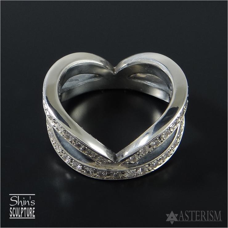 Shin's Sculpture(シンズ スカルプチャー)「Invisible Heart Full Eternity Ring(インヴィジブルハート フルエタニティ リング 」SILVER 925、キュービックジルコニア / 7号~23号【レディース ペア ジュエリー 手彫り エタニティ シルバー 925】R-27CZ